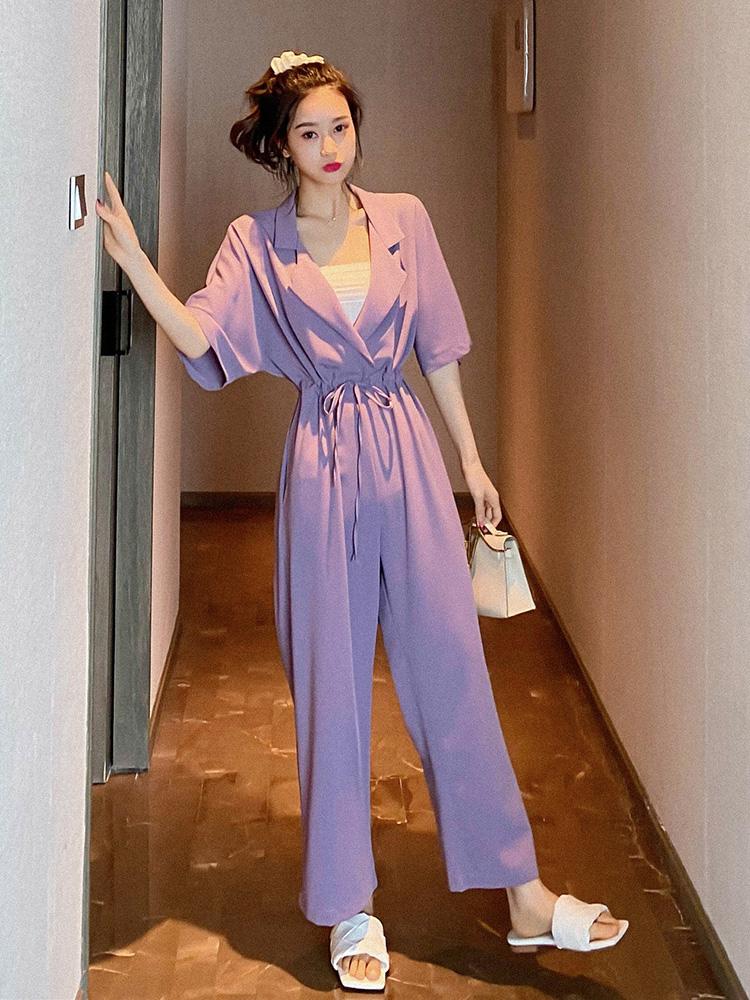 Summer womens 2020 new purple Jumpsuit womens work clothes Jumpsuit collar waist closing Jumpsuit wide leg pants