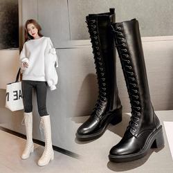 高跟长靴女2020新款冬不过膝靴白色高筒骑士靴小个子粗跟长筒马靴