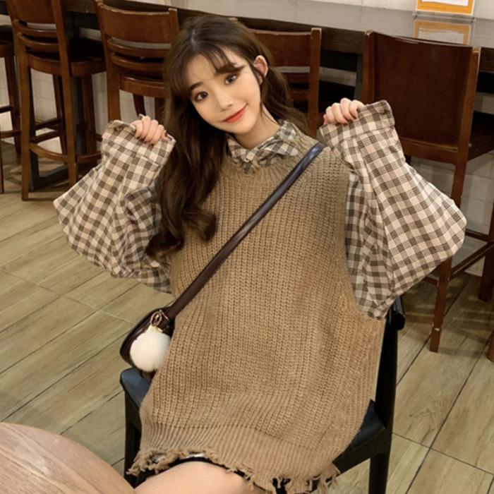 11-17新券女神套装女秋装2019新款韩版格子衬衫加背心针织马甲时尚两件套潮
