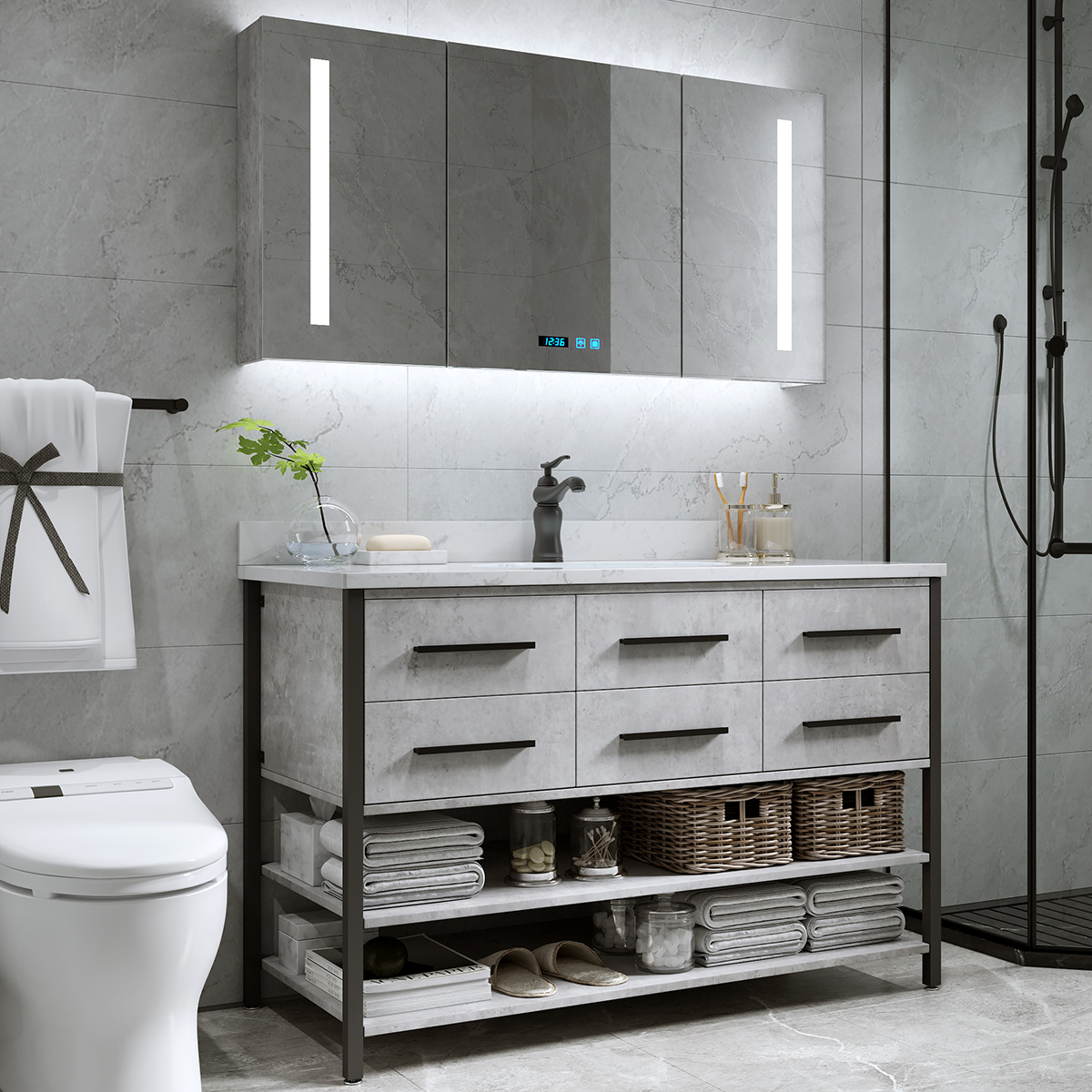 轻奢卫浴智能北欧浴室柜组合落地式洗脸洗手面盆池洗漱台盆卫生间