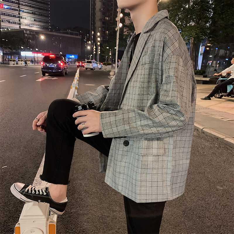 Spring Plaid suit coat mens Korean version trendy handsome versatile student loose ins Hong Kong Style ruffian handsome small suit
