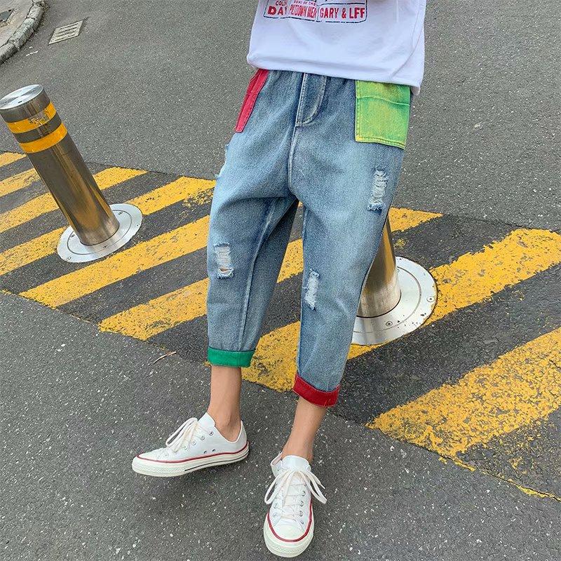 破洞男夏季韩版潮流宽松七分牛仔裤