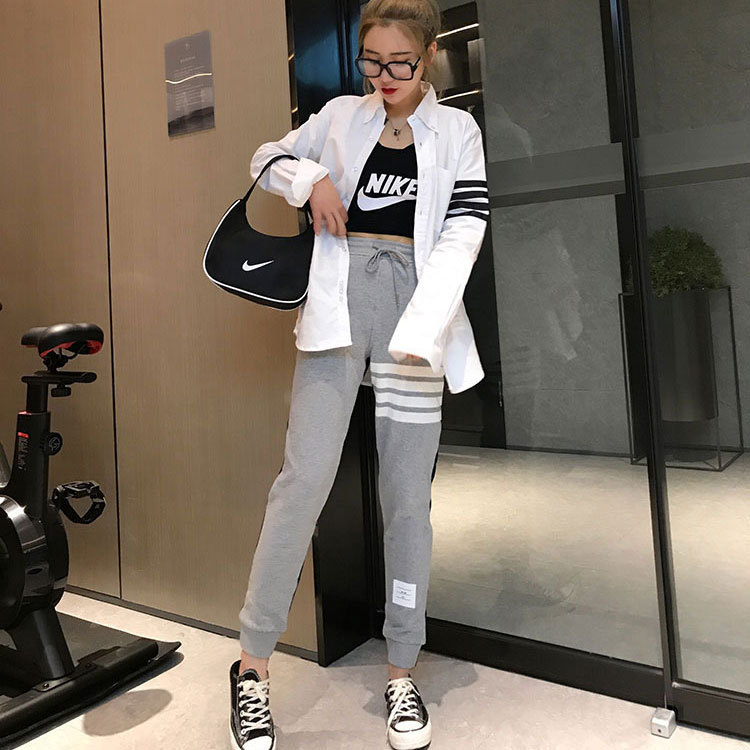 2021 spring and autumn new TB yarn dyed stripe front and rear stitched cotton guard pants pants sports casual pants for men and women
