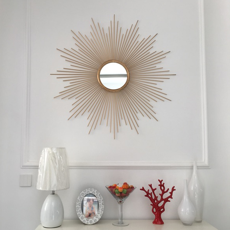 铁艺太阳镜子壁挂 客厅卧室家居壁饰创意玄关电视墙面装饰品