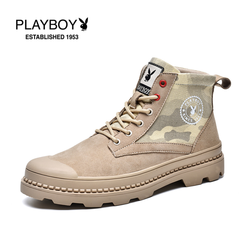 Playboy mens shoes spring and autumn outdoor leisure shoes high top camouflage pattern work shoes students personalized versatile fashion shoes