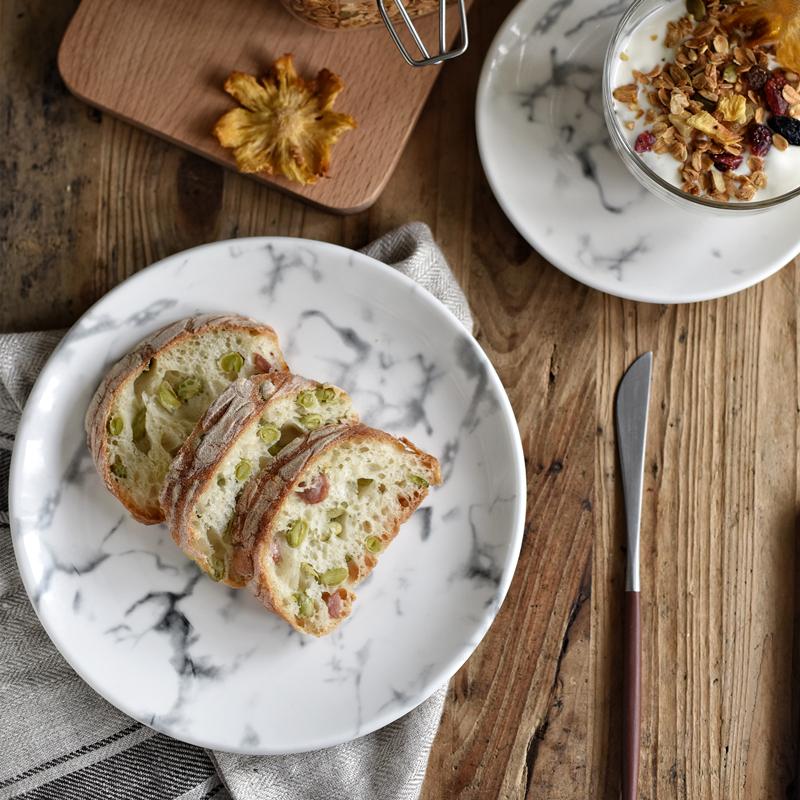 創意北歐大理石紋餐盤菜盤西餐盤圓盤米飯碗馬克杯陶瓷餐具套裝