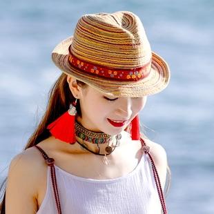 莹如民族风帽子复古文艺女春季新款拉菲草帽遮阳帽宽檐沙滩帽春夏