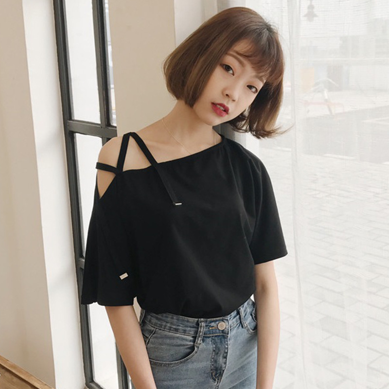 中國代購|中國批發-ibuy99|女裝|2020夏天女装原宿百搭斜肩短袖t恤女性感吊带露肩宽松上衣