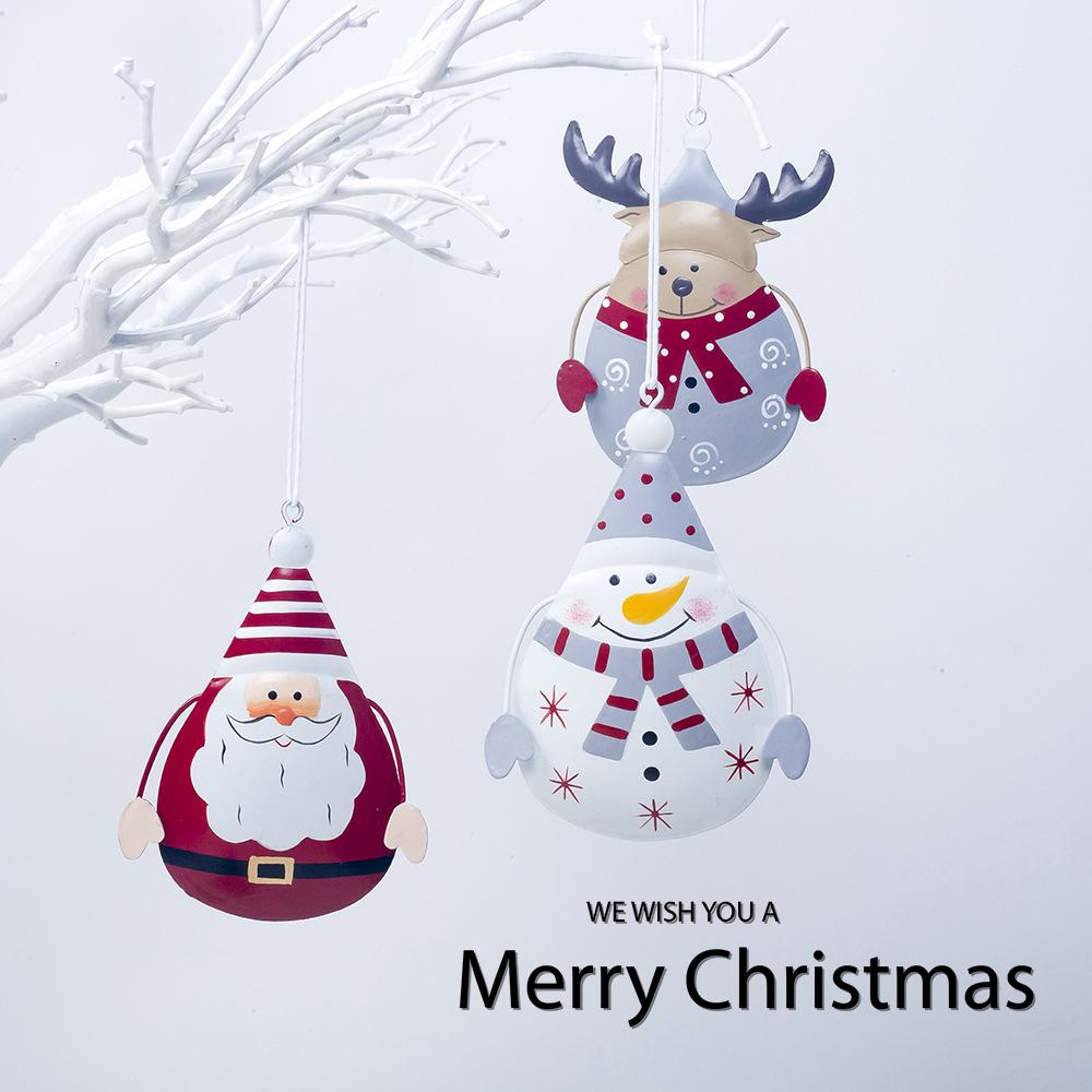 圣诞节装饰品北欧ins丹麦铁艺彩绘圣诞雪人麋鹿挂件圣诞树小挂饰q