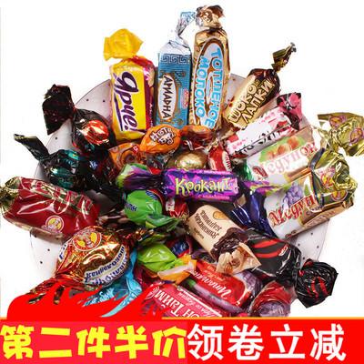 【锦食阁】俄罗斯进口正品紫皮混合装巧克力喜糖果500g年货零食品