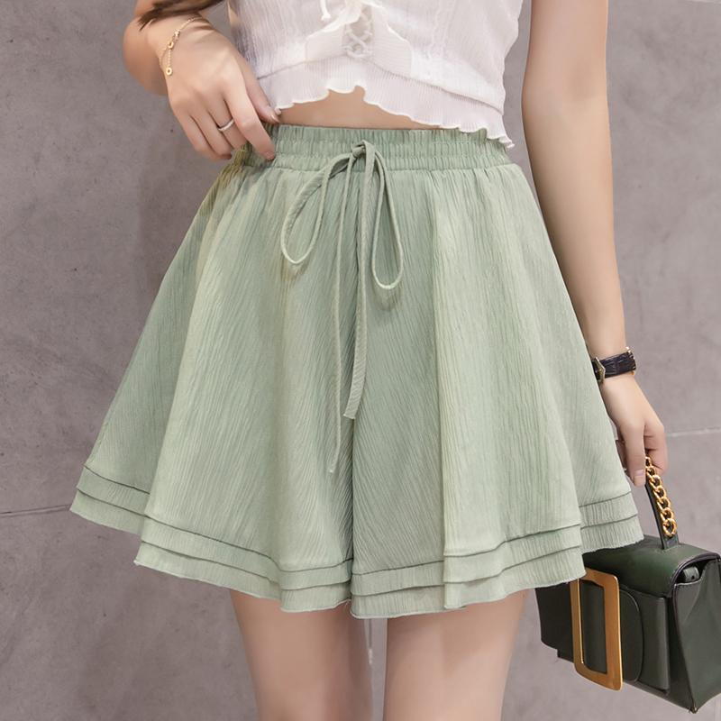 2020韩版新款高腰纯色系带宽松雪纺短裤女装休闲宽松阔腿裤裙女潮