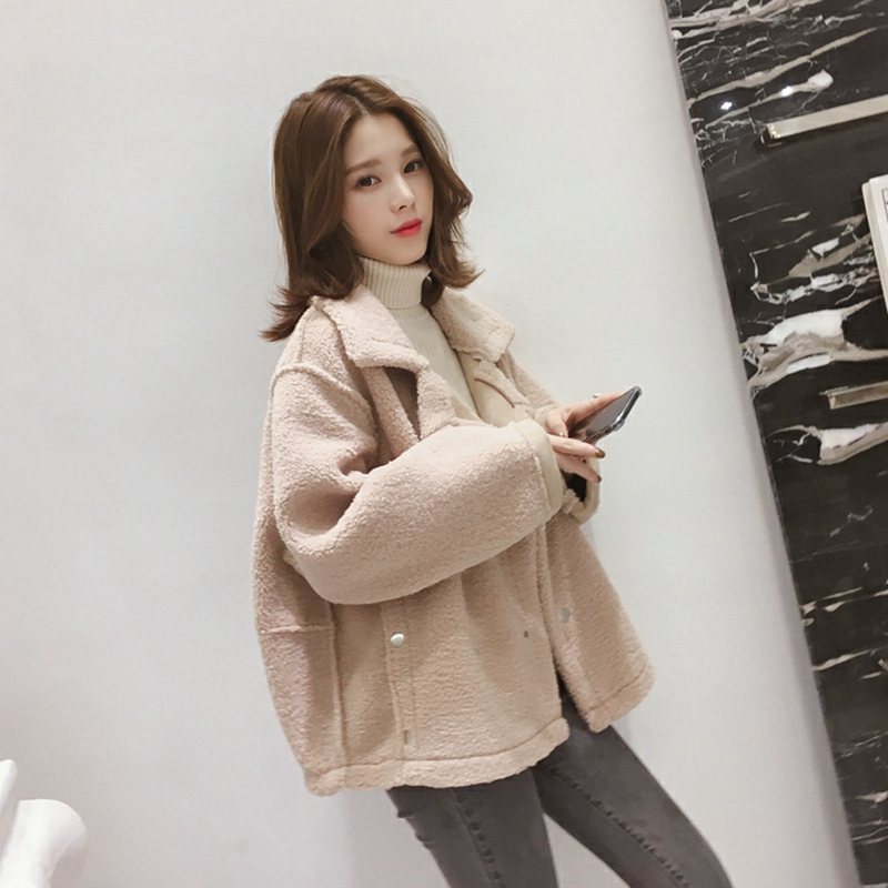 Autumn and winter 2020 new Korean loose chic lamb fur one jacket double breasted short jacket for women