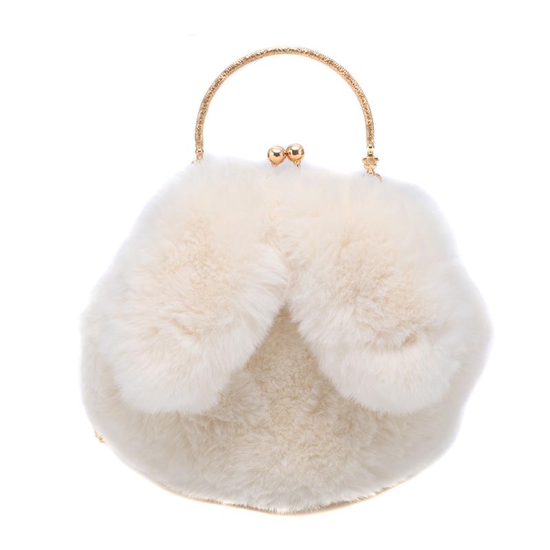 可爱兔耳朵毛绒包包女2020新款软萌少女链条包百搭毛毛单肩斜挎包