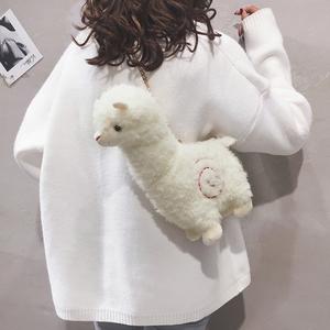 卡通包包女2019秋冬新款可爱羊驼毛绒包少女心个性百搭单肩斜挎包