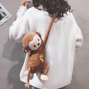 卡通小包包女包新款2020休闲可爱猴子包毛绒玩偶公仔单肩斜挎包潮