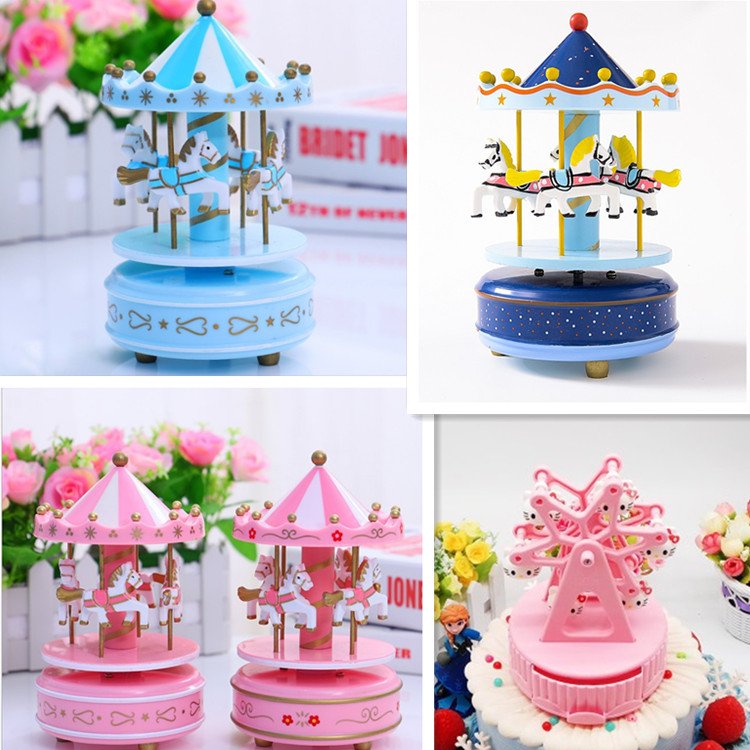 Merry go round with lights music box cake decoration ornaments childrens birthday gifts festival decoration accessories