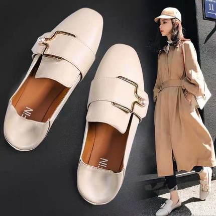 2020春季新款韩版一脚蹬奶奶平底鞋
