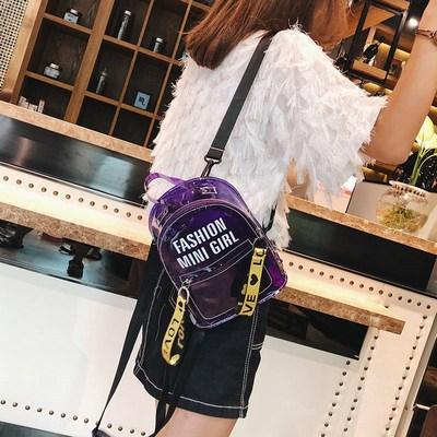 2020新款塑料透明雙肩包女韓版迷你學生包包女時尚潮流果凍小2020