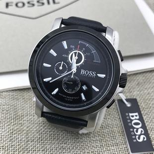 国内现货HUGO BOSS手表皮带三眼计时潮流休闲商务日历石英表男表