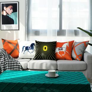 轻奢抱枕样板房简欧沙发客厅橙色靠垫腰枕现代民宿大靠枕靠背护腰价格