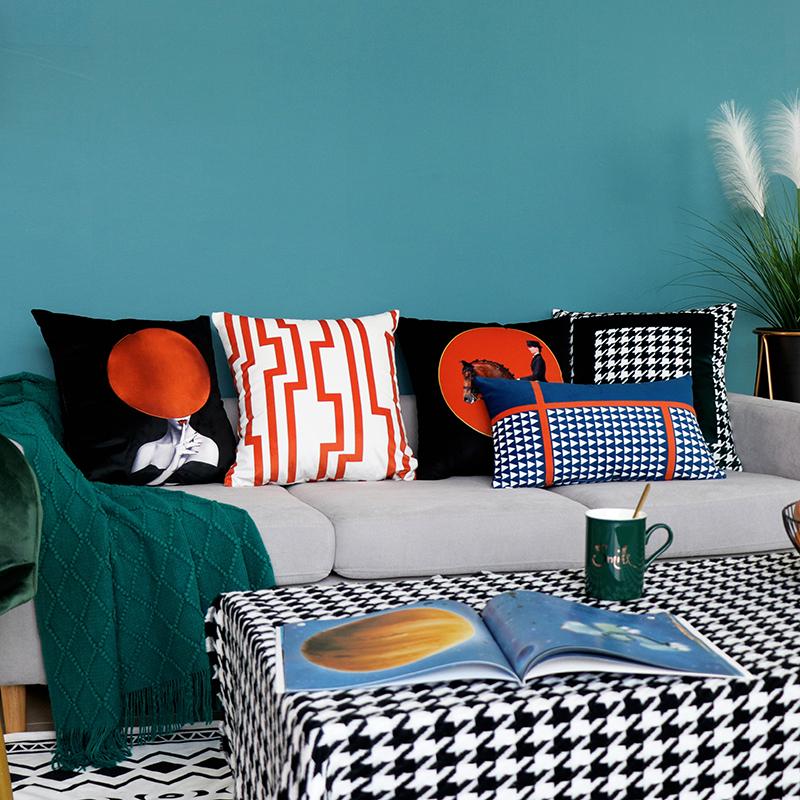 轻奢沙发蓝色橙色靠枕套办公室抱枕