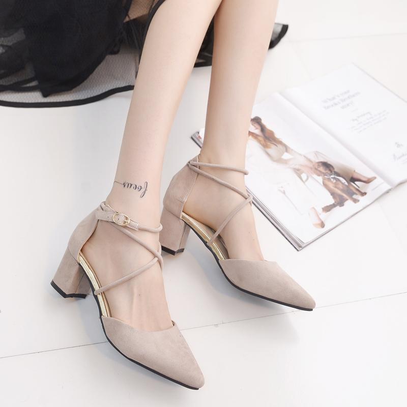 大学生单鞋女粗跟2020春夏新款凉鞋尖头绑带高跟鞋配裙子仙女鞋潮图片