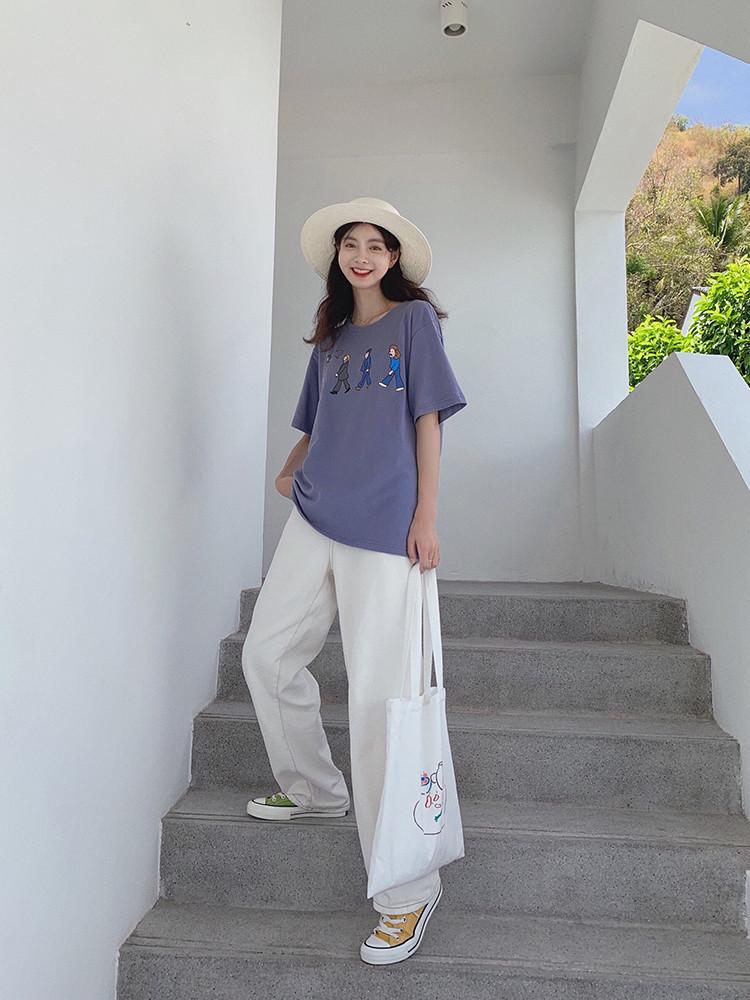 范智乔 橘橙色t恤女卡通印花cec短袖纯棉宽松小清新甜美半袖上衣满38.80元可用1元优惠券