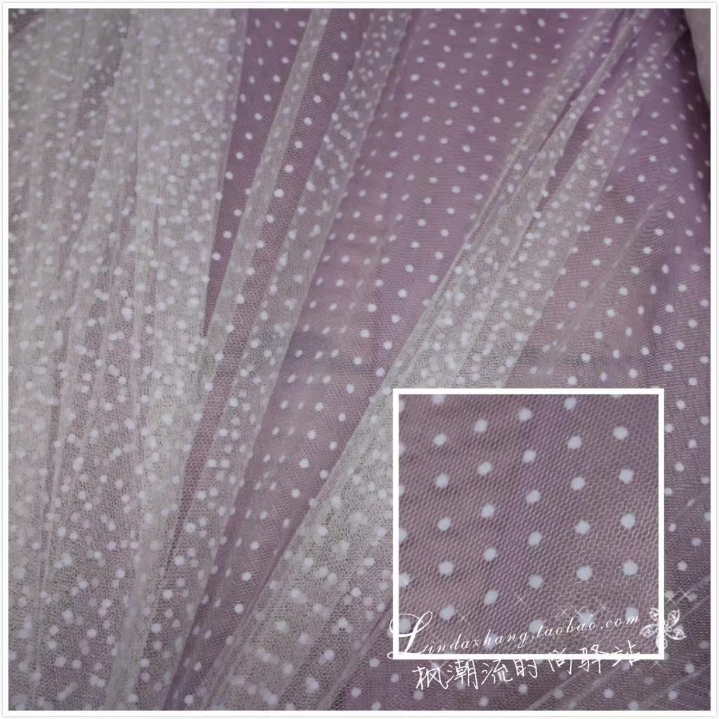 礼服植绒立体点点水玉小波点软网纱蕾丝布料连衣裙蓬蓬裙面料白色