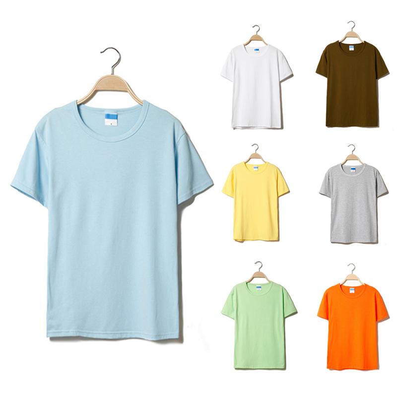Summer new mens short sleeve T-shirt solid color Korean round neck cotton slim half sleeve T-shirt monochrome top fashion
