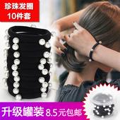 珍珠发圈黑色头绳新款炸头发皮筋发绳橡皮筋高弹力耐用皮套女加粗