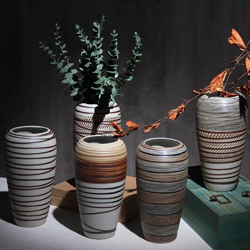 台面大花瓶陶瓷摆件中式复古陶罐客厅酒店装饰品插花干花粗陶瓷瓶满56.00元可用28元优惠券