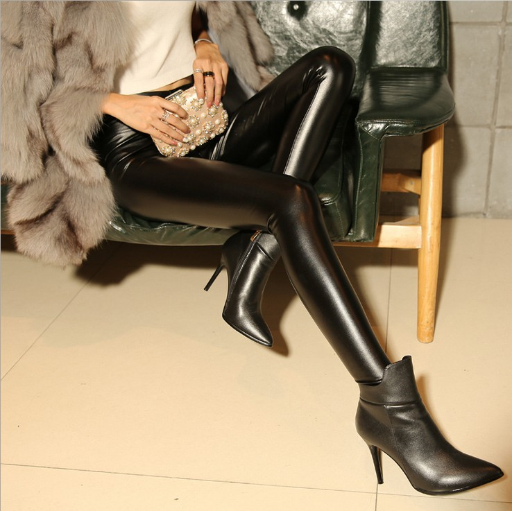PU leather pants womens Plush thickened high waist shows thin 2018 new Leggings