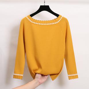 秋季韓版女裝撞色花邊一字領九分袖冰絲針織衫修身顯瘦打底衫上衣