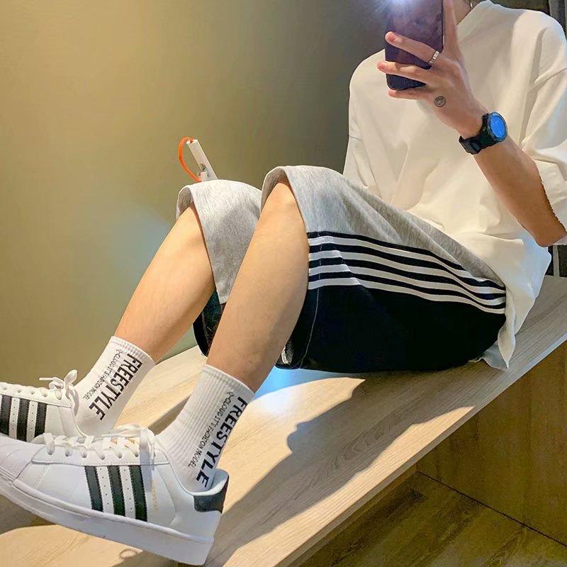 2021 summer casual shorts mens straight tube loose stripe sports pants high street fashion brand pants