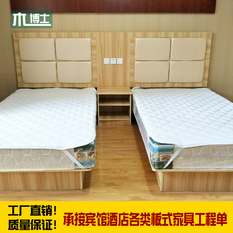 Hotel furniture bed standard room full set of hotel bed direct selling TV cabinet fast hotel furniture bed customized hotel bed