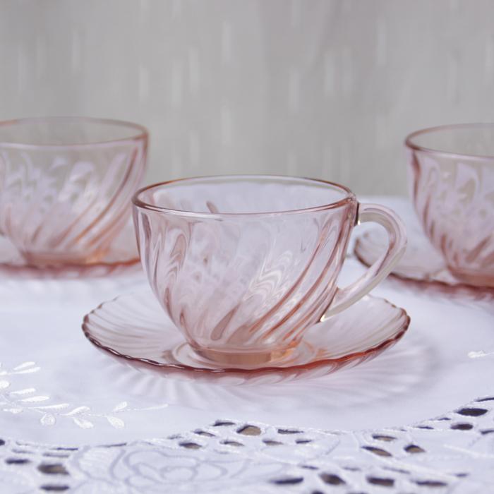 Ретро западный антикварный французский розовый вращение принт Кофейные чашки и блюдца II наборы