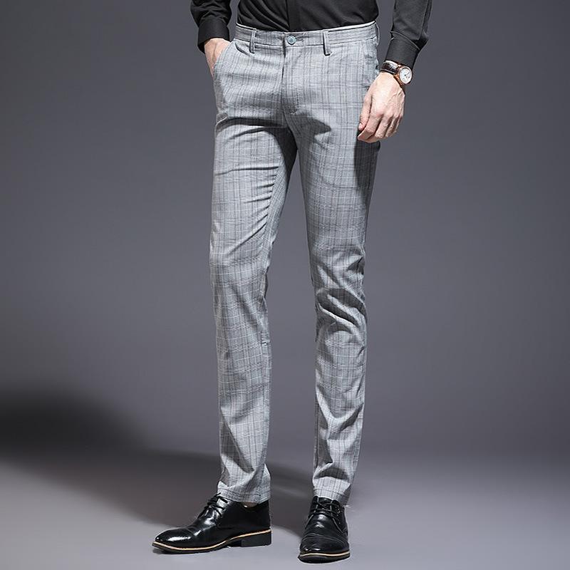 2020潮流男士休闲裤韩版修身长裤男格子青年男装裤子夏季薄款男裤