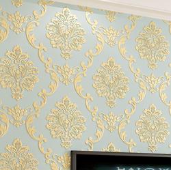 欧式无纺布壁纸加厚3d立体精压大马士革卧室客厅背景墙纸环保奢华