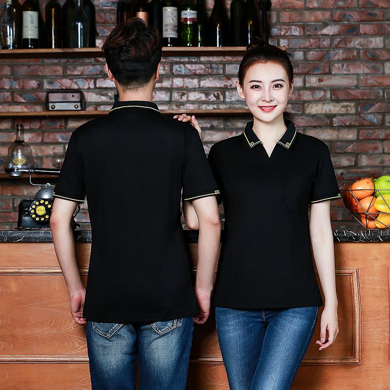 饭店餐厅服务员工作服短袖 酒店餐饮火锅店快餐店前厅工装T恤夏装