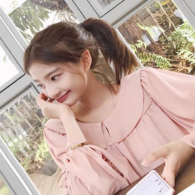 大喜自制 2017春季新品复古清新荷叶宽松喇叭袖雪纺衫衬衫长袖女
