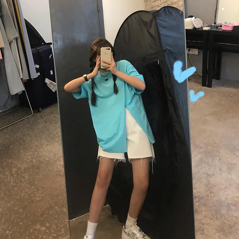 王少女的店 下摆打结t恤 2020年夏装新款韩版宽松短袖侧开叉上衣