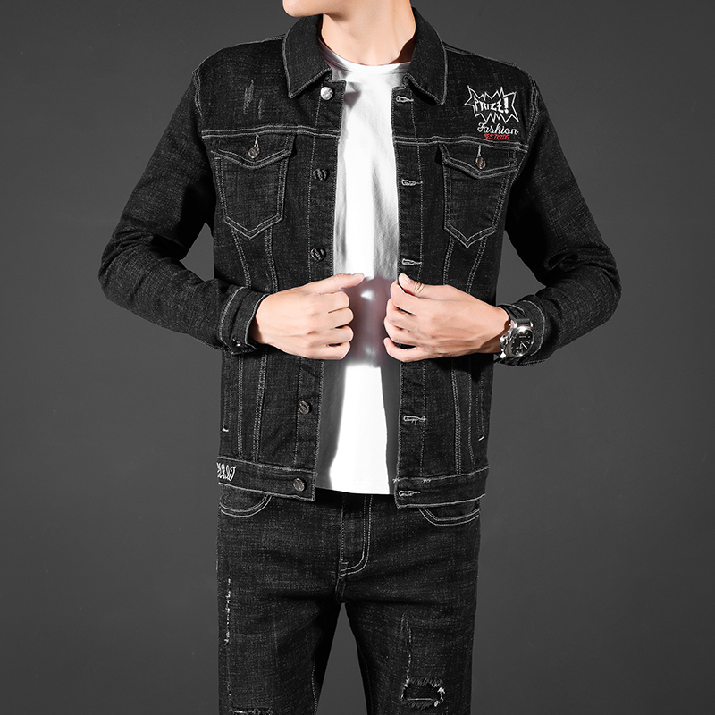 Spring and autumn new mens large size Slim Fit Black embroidery stretch denim jacket jacket and Pants Set