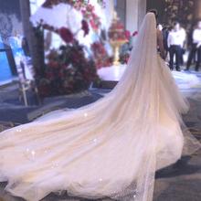 新娘结婚婚纱超仙森系白色大拖尾 抖音香槟色星空头纱女头饰超长款