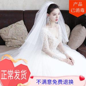 头纱新娘主白色长款香槟色头饰结婚
