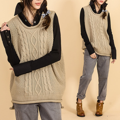 2021 spring and Autumn New Womens Linen curl loose casual versatile literature and art wool vest