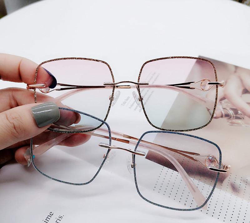 钻石切边无框眼镜男近视定制大框眼镜女散光眼镜女爱可眼镜框架