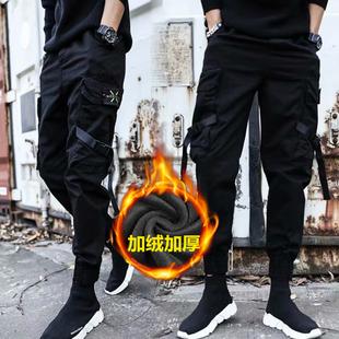 暗黑机能者风工装裤男秋冬季学生加绒长裤子ins加超大码胖子显瘦