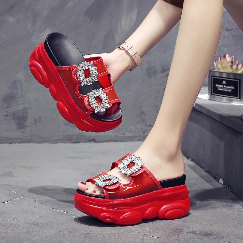 内增高网红拖鞋女外穿坡跟半拖夏2020新款时尚松糕厚底女士凉拖鞋