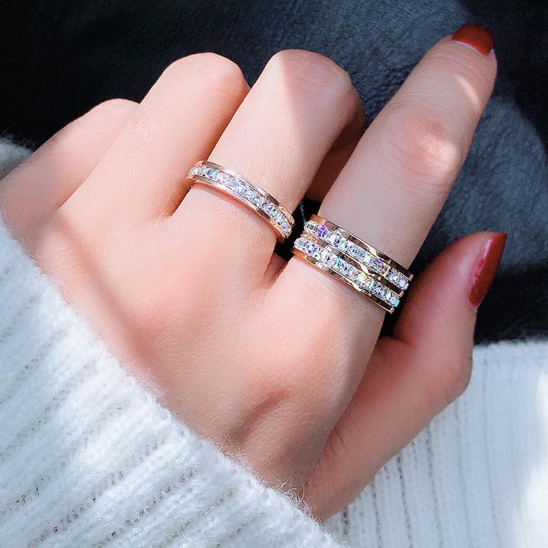 食指钛钢戒指女不掉色日韩国玫瑰金潮人网红简约个姓百搭学生指环