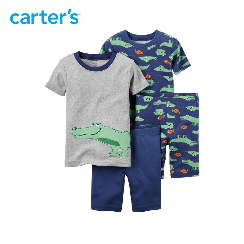 Carter s4件套裝混色短袖上衣短褲居家服夏緊身男嬰兒 321G081